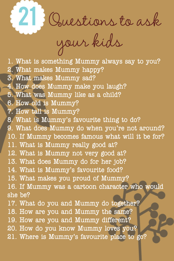 21 things to ask your kids