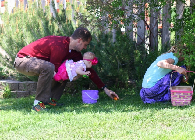 Helping our littlest one hunt